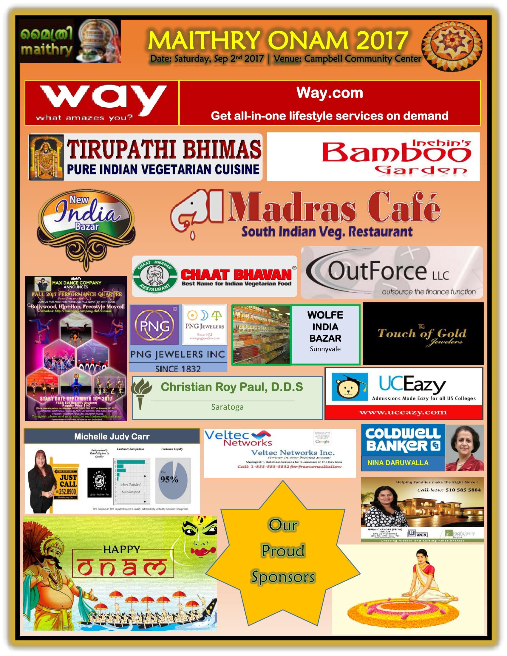 Maithry Onam 2017 Sponsors